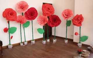 Как сделать ростовую розу из гофрированной бумаги