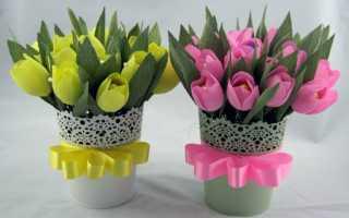 Как сделать тюльпаны из гофрированной бумаги