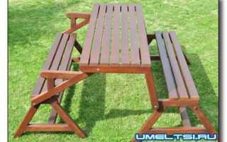 Как сделать стол и скамейку